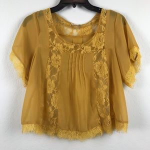 Lush Mustard Sheer Cropped Blouse